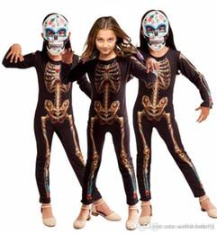 Ingrosso Costume Adolescente Horror stampato bianco Cosplay Suits Magro manica lunga unisex tute speciale Abbigliamento Halloween Clown Tema