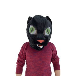 Black wolf mask online shopping - Factory Sale Black And White Two Color Available Wolf Mascot Head Mask Cartoon Shape Fashionable Design Head Mask