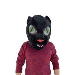 Venta al por mayor de Venta de la fábrica en blanco y negro de dos colores disponibles Máscara de cabeza de mascota de lobo Forma de dibujos animados Máscara de cabeza de diseño de moda