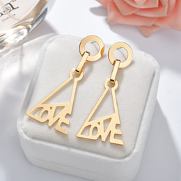 pendants for crafts 2019 - 2019 Love Letter Triangle Metal Alloy Pendant Earring Women Female Dangling Earrings DIY Craft For Jewelry Making Gift c