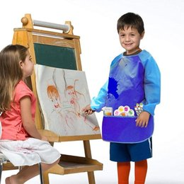 kids paint smocks 2020 - New Pack of 2 Kids Art Smocks, Children Waterproof Painting Aprons Artist Long For Age Sleeve Pockets Years with 2-6 3 T