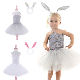 Rabbit Tutu Australia - 2 colors Party Princess Dress Little Rabbit Cute Girls Dresses Girls Lace TUTU dress kids designer clothes girls DHL JY57