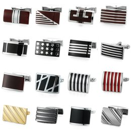 Wholesale Engraving Plate Gold 18k NZ - Novelty Brand Men's Gold Silver Rectangle red Enamel Design Cuff stainless steel Material Gift Hand engraving cufflinks Jewelley