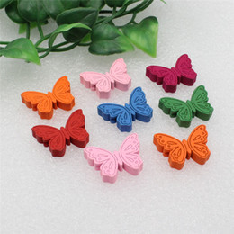 Fashion Led Bracelets Australia - Fashion Jewelry 50pcs lot Wholesale Colorful Lead-free Animal Butterfly Wood Beads for Bracelet Necklace 22x17mm (K00289) wholesale wood