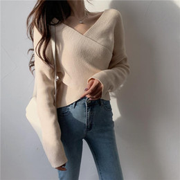 Wholesale crop sweaters resale online - Women Casual V Neck Knitting Pullovers Full Sleeve Crossed Sweaters Female Solid Crop Tops