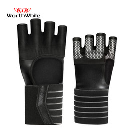 crossfit equipment NZ - WorthWhie Gym Fitness Gloves Adjustable Hand Wrist Protector Half Finger Crossfit Workout Weightlifting Bodybuilding Equipment