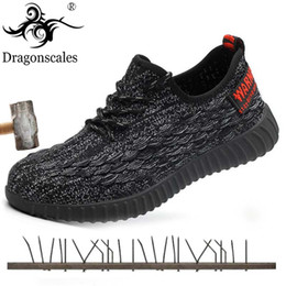Breathable Summer Safety Shoe Australia - Summer 2019 Men Steel Toe Work Safety Shoes Lightweight Breathable Black Casual Sneaker Prevent piercing Protective Work boots