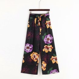 womens wide leg trousers UK - womens trousers high waist summer pants lace up printed wide leg pants holiday boho pants flower new arrival 2019 S M L