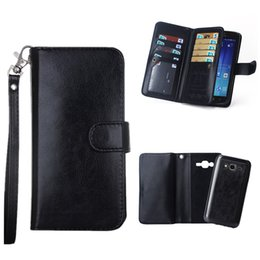 Lg G3 Card Slot NZ - Black PU Leather Holster Folio Case for LG G3 G4 G5 HTC M9 M10 Samsung J7 S6 Edge Plus Wallet Lanyard Card Slots Case Removable Back Cover