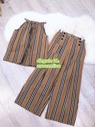$enCountryForm.capitalKeyWord NZ - 2019 Women Fashion Luxury Designer Vintage Striped Two Piece Pants Tops Sling Vest Shirt Camisole+Long Pants Shirt Casual Multi Sets Suit