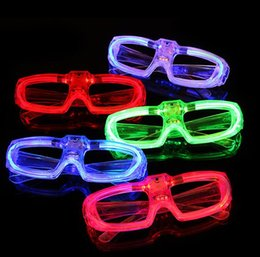 dj glasses wholesale Australia - Led Cold Light Glasses Glowing Flash Party Glasses Light Up Shades Rave Luminous Glass DJ Party Decor Christmas Holiday Props GGA2784