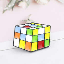 White Acrylic Cubes Wholesale Australia - Magic Cube Brooch Vintage Metal Christmas Brooch Pins Enamel Colorful Pins Badge Lapel Pin badge button 3D toy pin for kids Gift