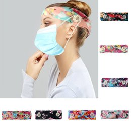 wide headbands for yoga Australia - DHL shipping Button Headband for Mask Holder Head Wrap Women Fashion Wide Floral Hairband Yoga Elastic Headwear Girl Hair Accessories L212FA