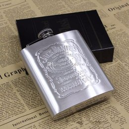 Flask Boxes Australia - With Box Portable Stainless Steel Hip Flask 7oz Embossed Flagon Flasks Russian Wine Beer Whiskey Bottle Alcohol Drinkware