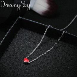 Wholesaler Boho Jewelry Australia - DreamySky Boho 925 Sterling Silver Long Chain Red Heart Beads Necklaces For Women Pure Silver Choker Necklace Christmas Jewelry