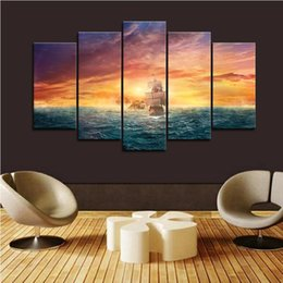 painting sea ocean Australia - 5 Piece Framed Sea Ocean Sunset Boat Sailing Wall Art Pictures for Living Room Decor Posters and Prints Canvas Painting