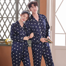 silk nightgown men Australia - Lovers Pajamas Couples Unisex Silk Sleepwear Soft Pyjama Sets Nightgown Pajama Sets Long Sleeve Men Lounge Pijamas