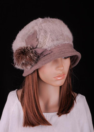 decorate hats 2019 - M641 Fashion Light Brown Women Lady Winter Warm Cute Rabbit Fur & Wool Flowers Decorated Hat Beret Beanie Cap cheap deco