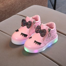 kid girl designer shoes NZ - Designer Cute Kids Baby Girls LED Light Shoes Cartoon Running Shoes Toddler Sneakers Anti-Slip Sports Boots For Children Girls