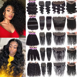 virgin remy indian hair weave closure 2019 - 9A Brazilian Remy Human Hair Weave Kinky Curly Human Hair Bundles With Closure 13x4 Lace Frontal With Bundles Virgin Hai