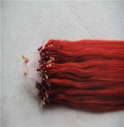 Hair Weave Tips Australia - Red Color Loop Micro Ring Beads Tipped 100% Real Remy Human Hair Weave 10-30 Inchs Straight Hair Extensions
