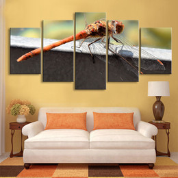 Art Canvas Prints Australia - 5 pieces high-definition print dragonfly canvas painting poster and wall art living room picture QIT5-010
