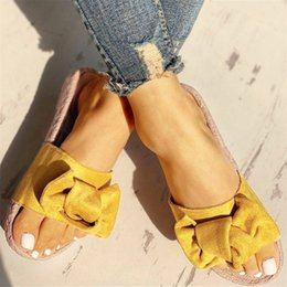 linen slippers Australia - Summer Slippers Women Bow Summer Sandals Slipper Indoor Outdoor Linen -flops Beach Shoes Female Fashion Floral Flat Sandals