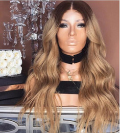 Long Colored Hair Australia - Ombre Glueless lace front wig loose wavy 100 human hair wig two tone colored full lace wig for black women Free Shipping