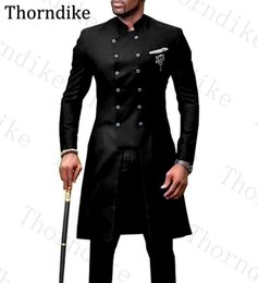 men s long wedding suit NZ - Thorndike 2020 Double Breasted Men Suit Mandarin Lapel Groom Tuxedos Mens Wedding Dress Man Suits Custom Made Long Man Suits