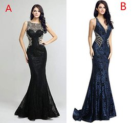 $enCountryForm.capitalKeyWord Australia - Women's V Neck Long Formal Evening Dresses Mermaid Lace Crystal Beaded Prom Gowns Real Image In Stock Hot Sale