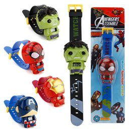 Wholesale 50pcs watch Kids Avengers deformation watches New Children Superhero cartoon movie Captain America Iron Man Spiderman Hulk Watch toys