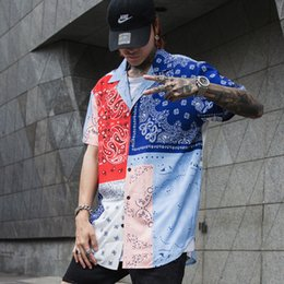 Discount mens white high collar shirt - Summer Mens floral print shirt Short sleeve Extra long Red Blue White Loose High street Hiphop style