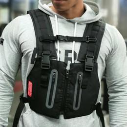 Riflettente maglia tattica esterna degli uomini di protezione del torace Borse Esercizio Rig Bag Hip Hop Streetwear Training Uomo Abbigliamento zaino marsupio UK-3 in Offerta