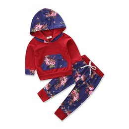 $enCountryForm.capitalKeyWord Australia - INS New Designs Infant Baby Girls Floral Hoodies Suits Flower Patchwork Hooded Tops With Straps Elastic Pants 2pieces Kids Clothing Set