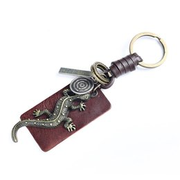 genuine lizard leather UK - Gecko Animal Pendant Keychain Genuine Leather vintage Lizard copper Key Chains Men's Keychains Charms For Women Accessories