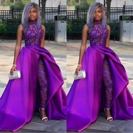 $enCountryForm.capitalKeyWord Australia - 2019 Sexy Jumpsuits Prom Dresses With Detachable Train High Neck Lace Appliqued Bead Evening Gowns Luxury African Party Women Pant Suits