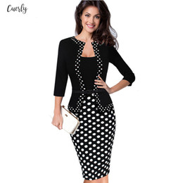 working robes Australia - Womens Dress Sheath Faux Jacket One Piece Polka Dot Contrast Patchwork Work Wear Office Floral Business Tunic Robe Crayon