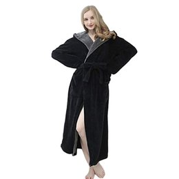 Winter Bathrobe for woman Hoodie Women Soft Spa Full Length Warm Light  Cashmere plus size Bathrobe e77de5a18