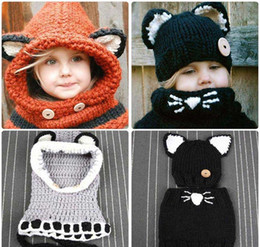 bc94594b1 new Kawaii Cat Fox Ear Baby Knitted Hats with Scarf Set Winter Windproof  Kids Boys Girls Warm Shapka Caps Children Beanies