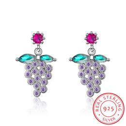 Опт Личность свежий мода стерлингового серебра 925 фиолетовый виноград Фрукты серьги для женщин девушка подарок букле d'oreille ювелирные изделия