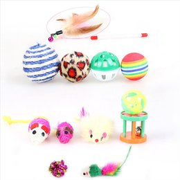 $enCountryForm.capitalKeyWord Australia - 12PCS Pack Pet Cat Toy Colorful Bells Ball Mouse Feather Rod Funny Playing Pet dog Cat Small Animals Feather Toys Kitten Pet Supplies