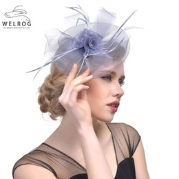 cocktail veil NZ - WELROG Bridal Wedding Hats Fascinators for Woman Party Lace Veil Flower Feather Headdress Fedora Feather Cocktail Hats