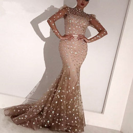 long glitter formal dresses 2020 - Arabic Long Sleeves Hight Neck Mermaid Evening Gowns 2020 Glitter Full Lace Floor Length Women Formal Party Prom Gown Ro