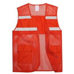 zipper vests NZ - New Fashion Unisex Big Mesh Volunteer Vest Zipper Front Safety Gilet with Reflective Strips LXH