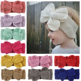 headbands bow Canada - Baby hair band children autumn winter knitting bow knot hair accessories 11 color girl boutique Headband Lovely Kids Headwraps wholesale
