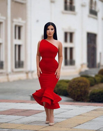 hot sexy girls red dress Australia - 2019 Hot Red African Black Girls Prom Dresses Party Wear one shoulder stain Tiered Mermaid Evening Gowns custom made Party Vestidos