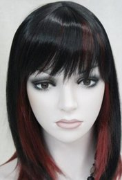 Wigs Mixed Black Burgundy Australia - WIG Hivision Black Burgundy Mixed Medium short Women ladies Daily Wig FTLD126 Hivision