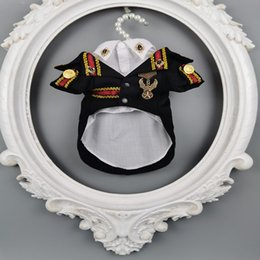 Wholesale designer army jackets resale online – handmade dog clothes handsome dog suit with shirt two piece pet wedding army uniform badge for poodle Yorkshire