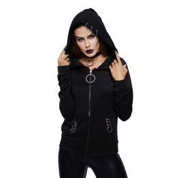 08d068d2894 Women Hoodies Casual Black Goth Punk Hot Tops Plus Size Straight Hooded  Zipper Spring 2019 Gothic High Street Female Sweatshirts