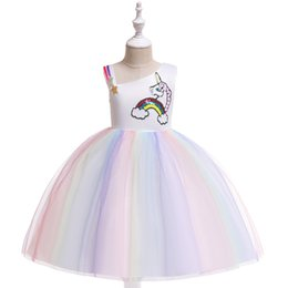 formal girl clothes UK - 2019 Kids Baby Girls Summer Unicorn Dress Princess Dresses Children's Day Party Wedding Tutu Cartoon Sequined Lace Mesh Dresses Clothes
